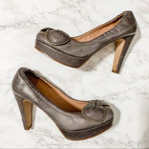 See by Chloe pewter gray zipper bow pumps 38.5